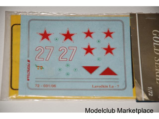 Lavochkin La-7 Red Star - White 27 decal sheet, 1/72 Propagteam